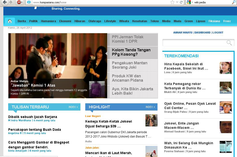 Headline Media Kompasiana 26 April 2012