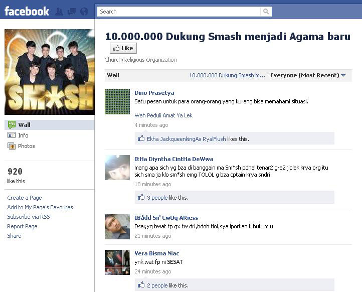Agama Smash di Facebook