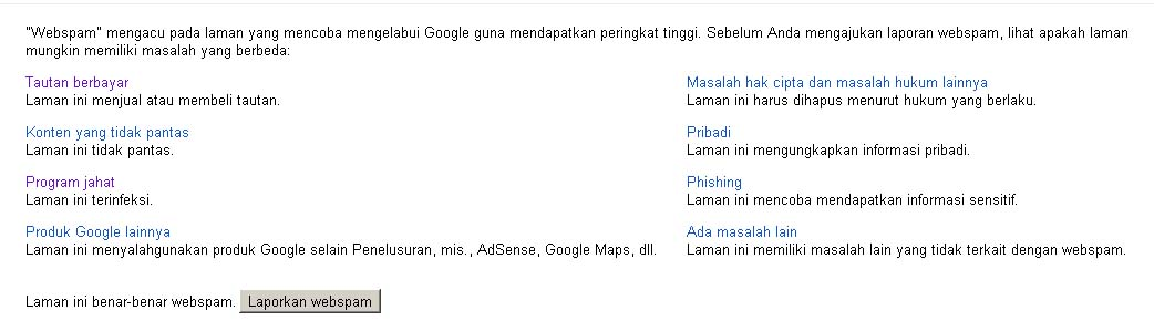 web spam google
